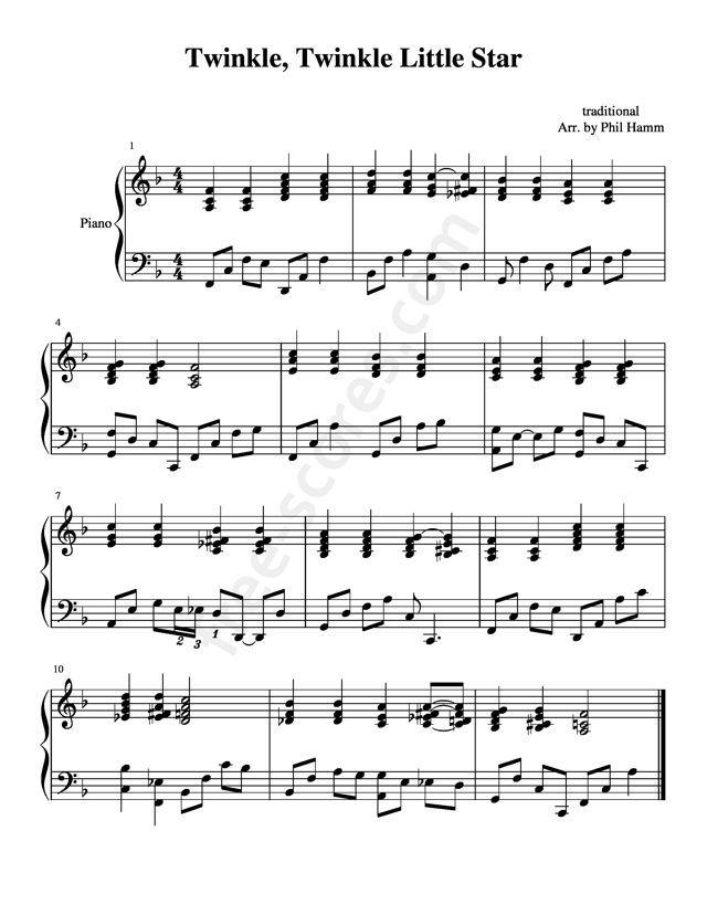 Free Sheet Music Traditional Twinkle Twinkle Little Star