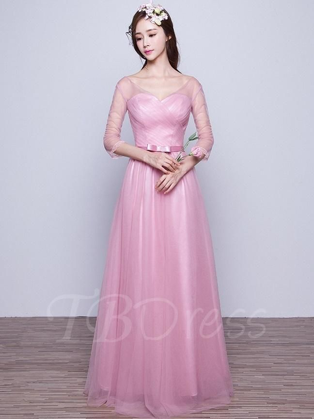 TBDress - #TBDress V-Neck 3/4-Length Sleeves Lace-Up Bridesmaid ...
