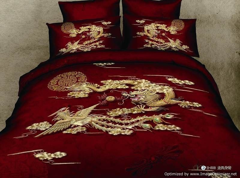 Queen Duvet Covers Comforter Sets Pc Gold Chinese Dragon - Chinese dragon comforter set