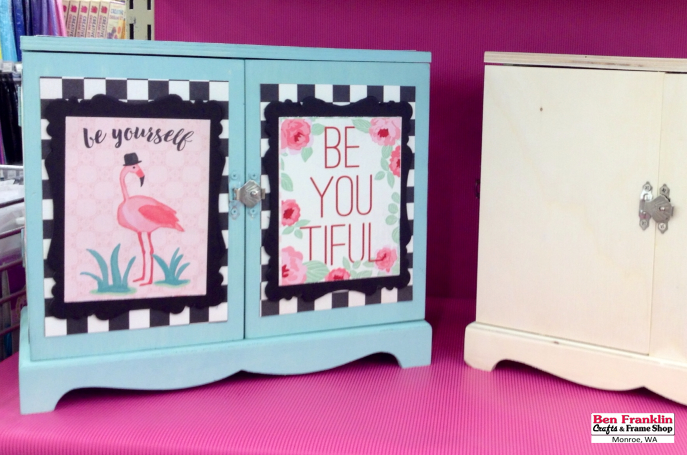 """DIY """"BE YOURSELF"""" BE-YOU-TIFUL Mini Box - We applied """"Seafoam"""" Ceramcoat paint on the 9"""" x 8"""" x 4.75"""" unfinished box. We used Mod Podge to glue some paper from the """"Fabulous"""" paper collection by Authentique to the front doors.   Supplies available at our Ben Franklin Crafts store."""