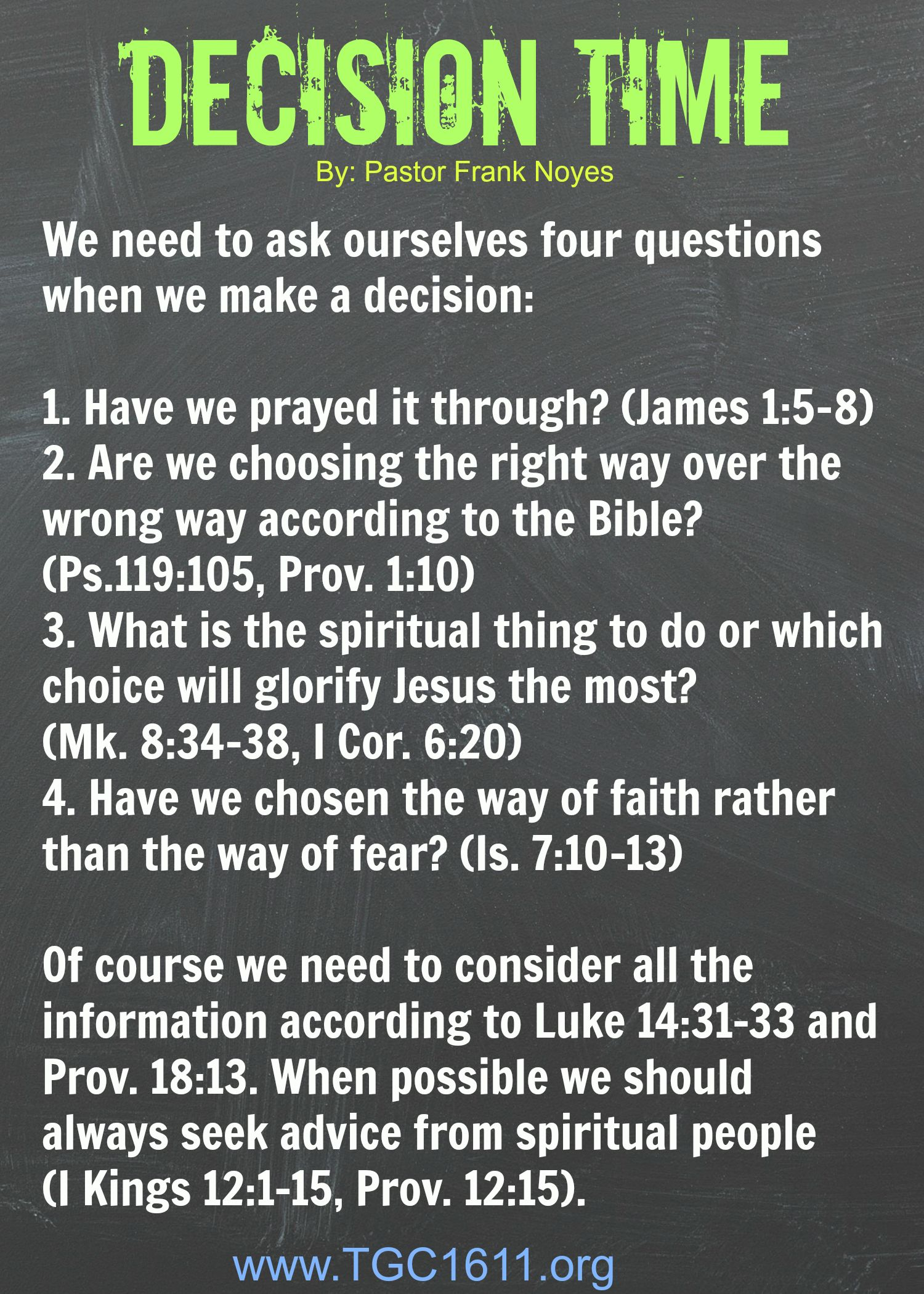 Only way to make a right decision, is to know God's will