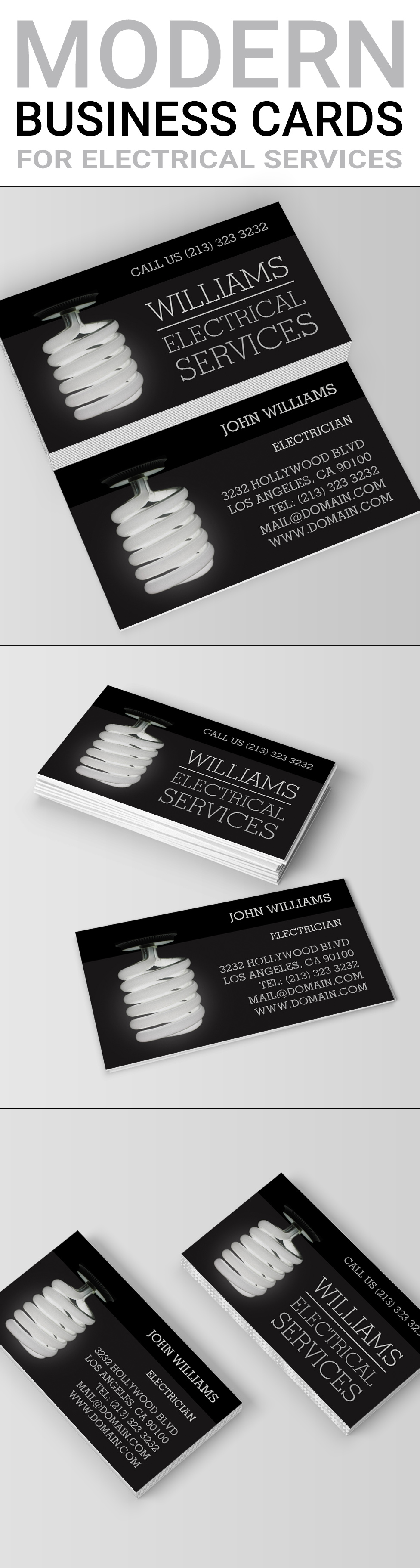 Electrician Electrical Services Light Bulb Business Card | Business ...