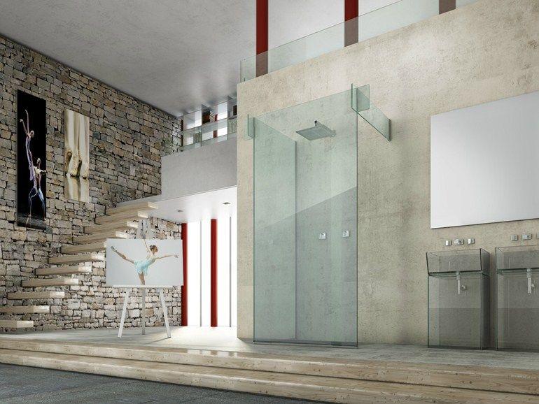 Pareti Per Doccia In Vetro : Box doccia in vetro icona separÈ parete by megius bathroom