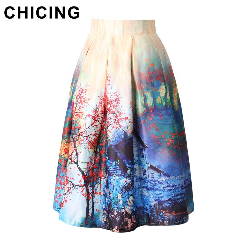 9 colors Women\'s Skirt Vintage Print Ball Gown Pleated Only $19.99 ...