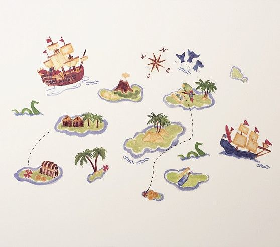Pottery Barn Kids Pirate Wall Decals Colorful Baby Kids Children Toddler Boys