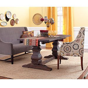 Arcadia Trestle Dining Table With Hayden Dining Bench And Upholstered  Chair, From World Market
