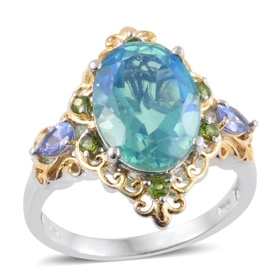 double peacock gold blue green media ring oval engagement white reserved tanzanite band