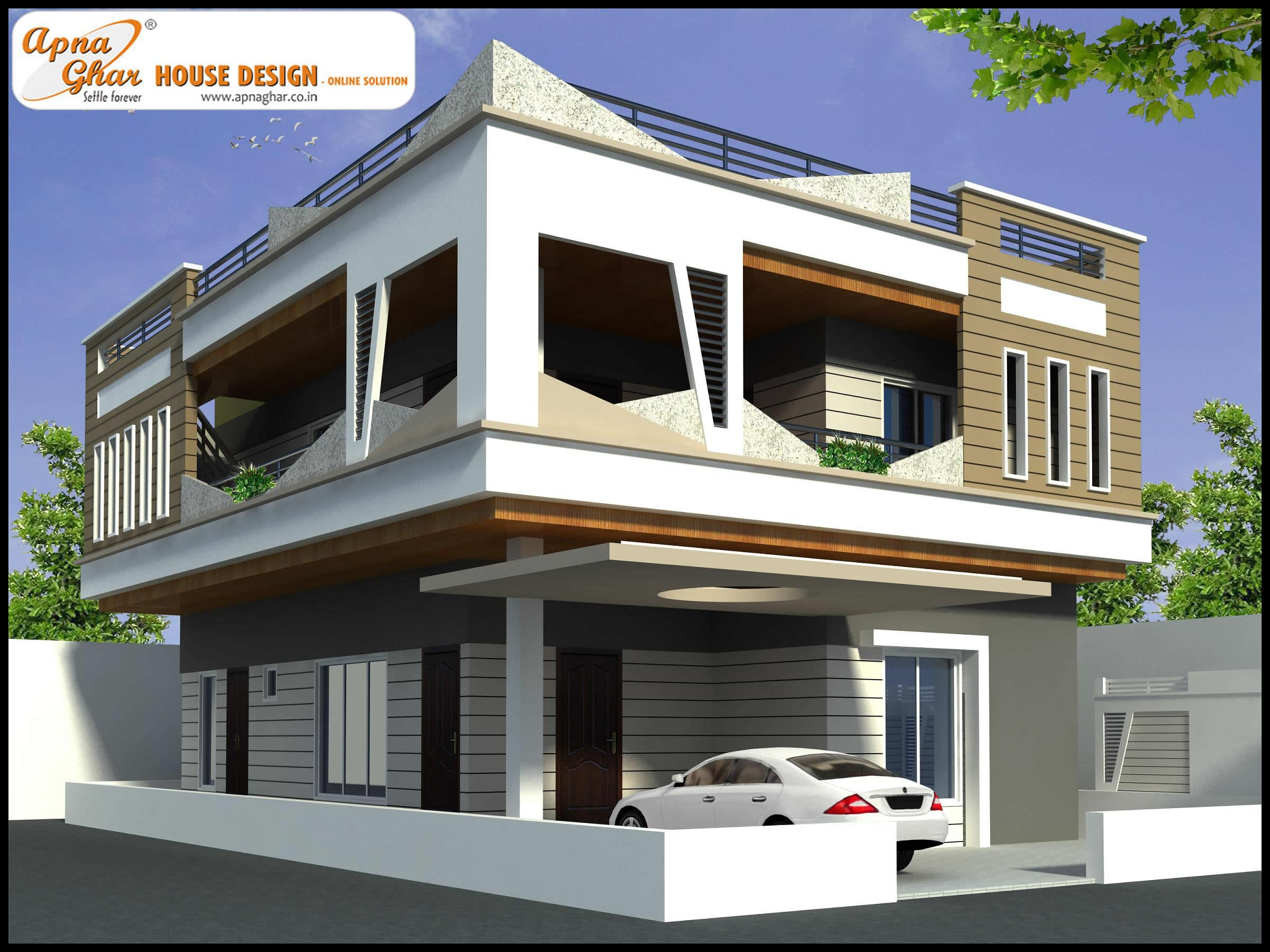 4 bedroom, modern duplex (2 floor) house design. Area: 216 sq mts ...
