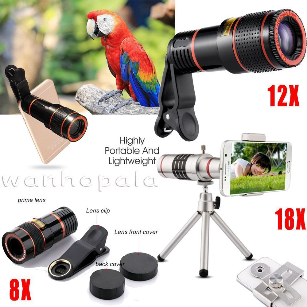ClipOn 8X 12X 18X Optical Zoom Telescope Camera Lens For