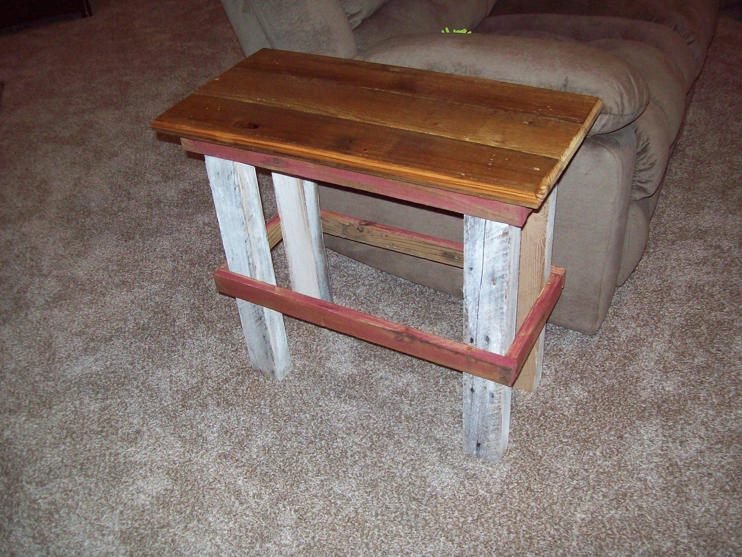 Old Real Reclaimed 2x4 Legs Tongue And Groove Board Top From Salvaged Barn Wood 2 Coats Of Poly On T G And White Wash Legs And Re Barn Wood Wood Step Stool