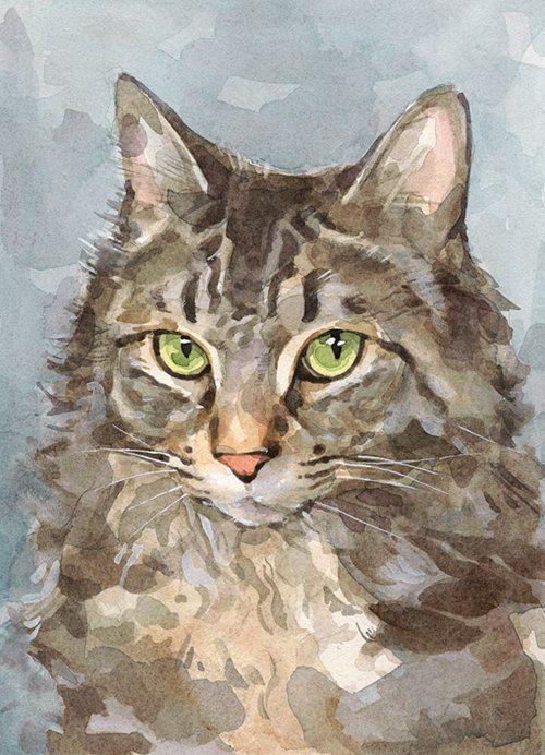 un portrait aquarelle personnalis de votre chat un format standard qui rend pour un beau petit. Black Bedroom Furniture Sets. Home Design Ideas