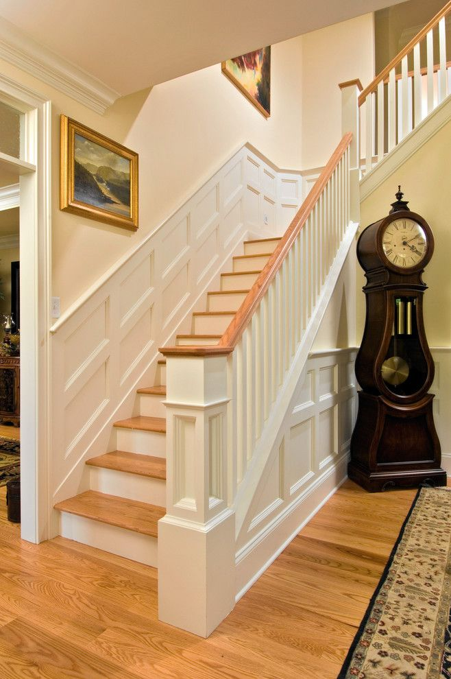 Good Chair Rail Foyer Part - 7: Grandfather Clocks For Sale Staircase Traditional With Box Moulding Chair  Rail Foyer Grandfather Clock Hardwood Floor