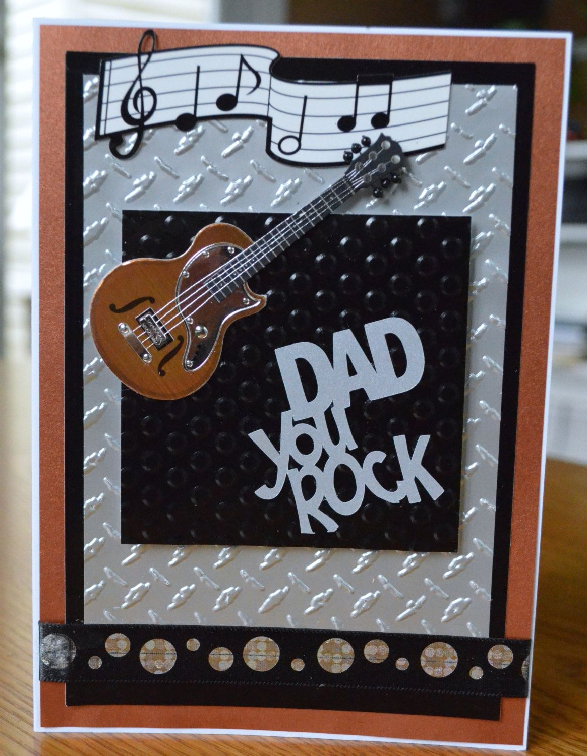 Handmade Father S Day Greeting Card With 3d Guitar Happy Etsy Father S Day Greeting Cards Handmade Guitar Cards Musical Cards