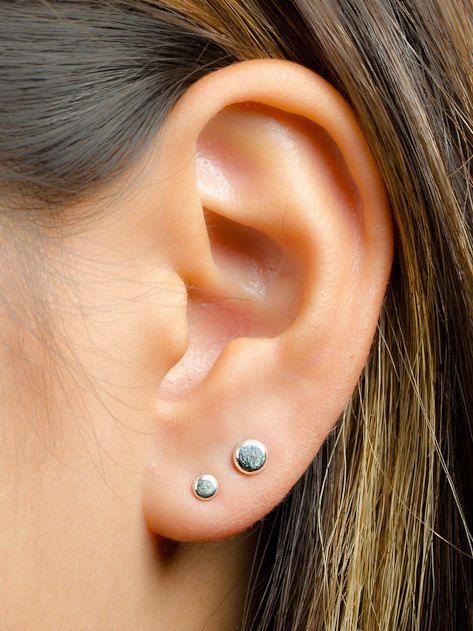 Circle Earrings Sterling Silver Stud Earrings Minimalist Stud Earrings Multiple Piercings Set of 4 Studs Oxidised Silver Studs