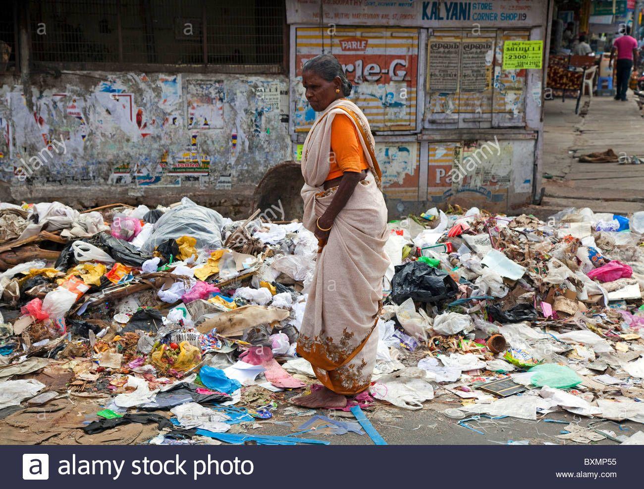 Garbage problem in the streets of Pondicherry, Tamil Nadu