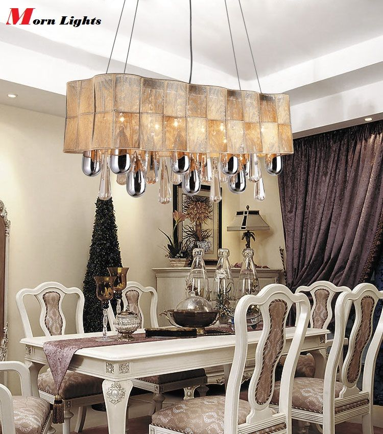 Vintage Chandelier European Luxury Modern Lighting LED K9 Rectangular Crystal For Dinning Room Lights