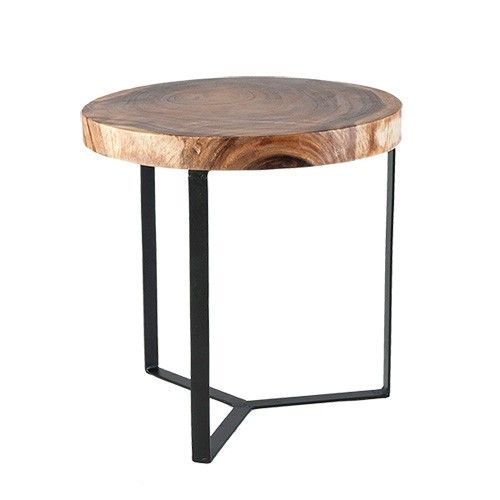 Sukowon round side table timber metal milan direct for Diy metal end table