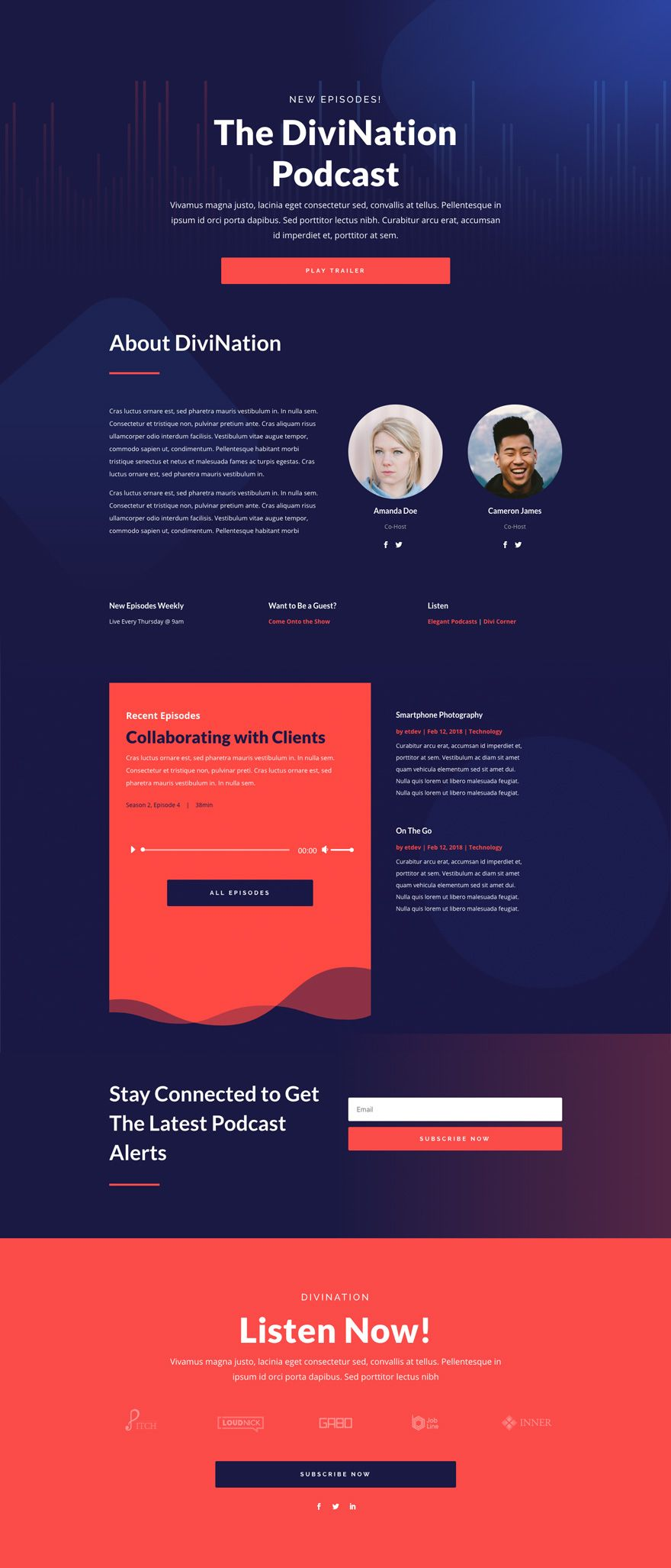 Podcast Landing Page Elegant Themes Web Design Inspiration Creative Web Layout Design Ecommerce Web Design