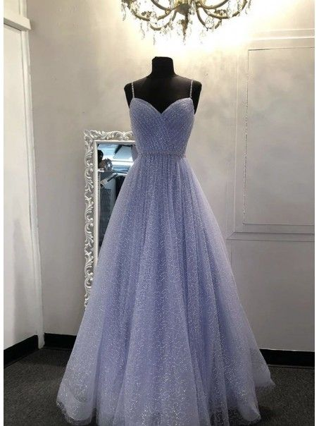 Photo of A-Line Sequins Tulle Long Prom Dresses Formal Evening Gowns 995011016