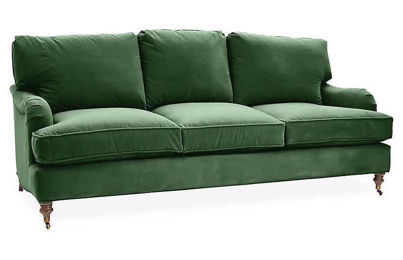 Brooke 3 Seat Sofa Emerald Velvet With Images Green Velvet