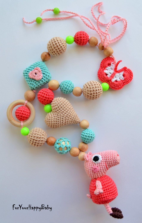 Nursing necklace with amigurumi Peppa Pig/ Breastfeeding necklace ...