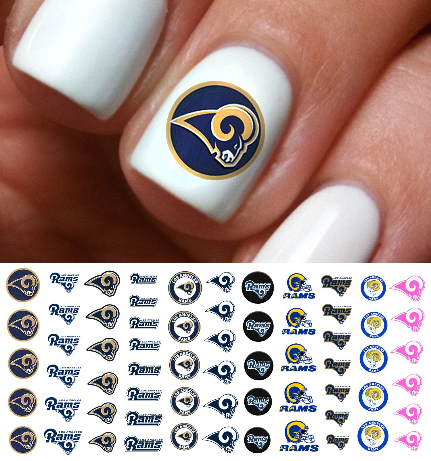 Show Your Rams Pride At The Game On Sunday With Nail Art From Moon Sugar Decals Www Moonsugardecals Com You Can Find These With Images Football Nail Art Football Nails