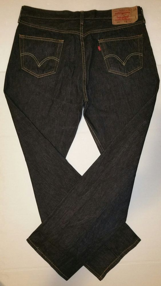 4f2b1b10bb3 Mens Levi's® 501 Button Fly Staight Leg Black Denim Jeans Size 38 x 34 Red  Tab #Levis #StraightLeg