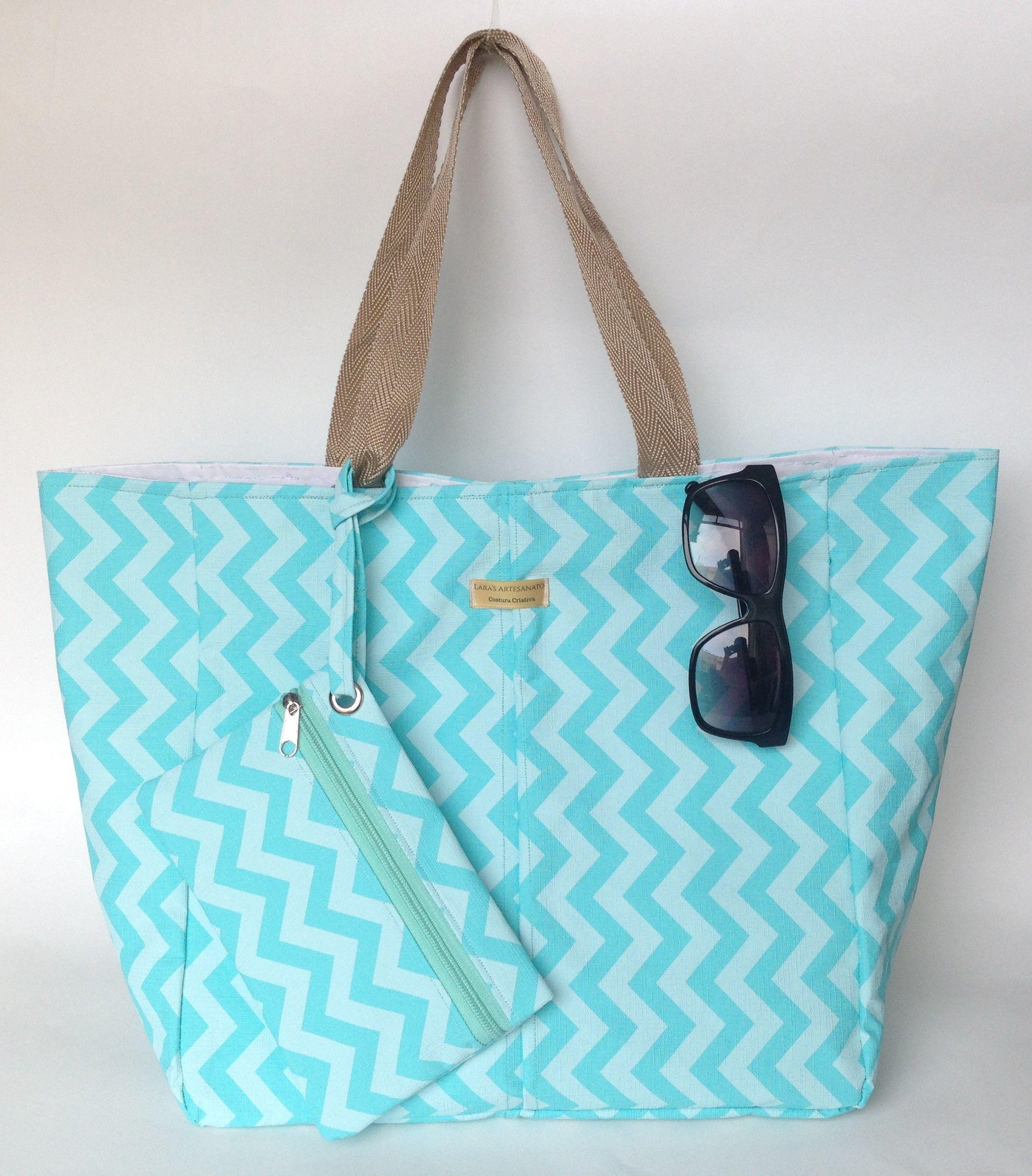 Bolsa Em Tecido Para Praia : Bolsa de praia com bolsinha imperme?vel