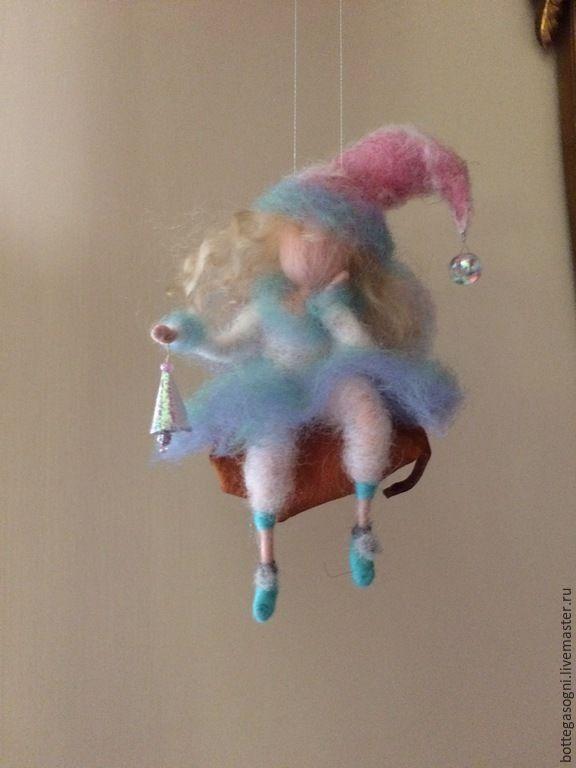 """Валяние """"Эльф волшебного озера"""" - голубой, шерсть для валяния, Валяние, фелтинг, ручная работа"""