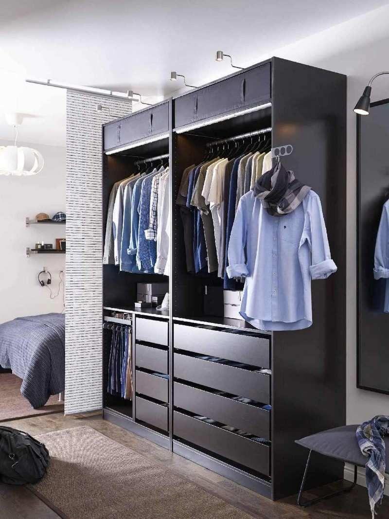 Dressing Ikea Angle Sans Porte dressing pour petite chambre -idées fonctionnelles modernes