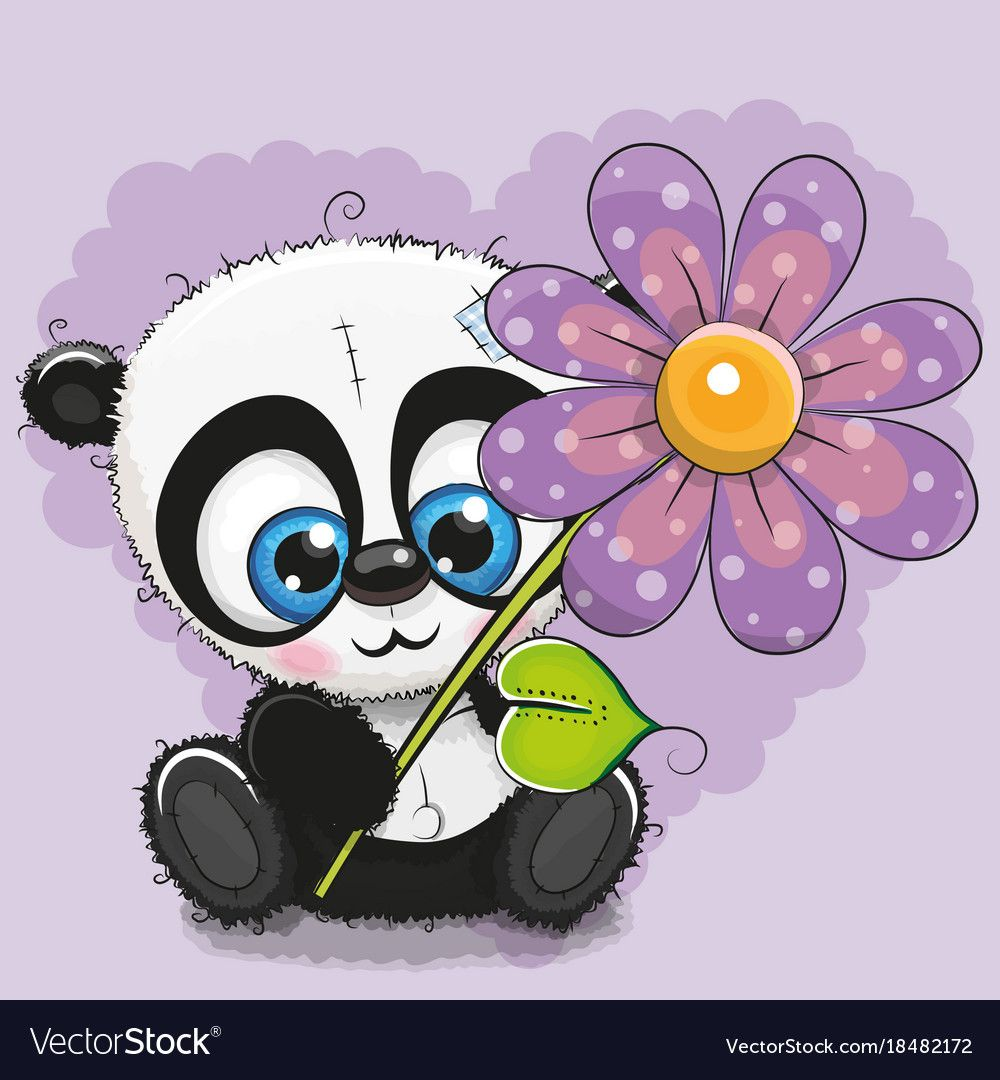 Greeting Card Panda With Flower On A Purple Background Download A Free Preview Or High Quality Adobe Ill Cute Panda Wallpaper Cartoons Vector Cartoon Clip Art