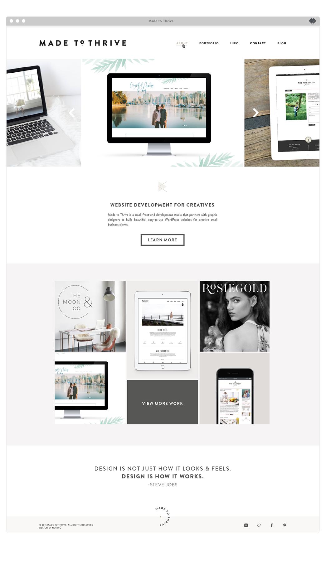 Branding And Website Design For Made To Thrive A Small Front End Development Studio That Partn Diseno Web Inspiracion Desarrollo De Sitios Web Disenos De Unas