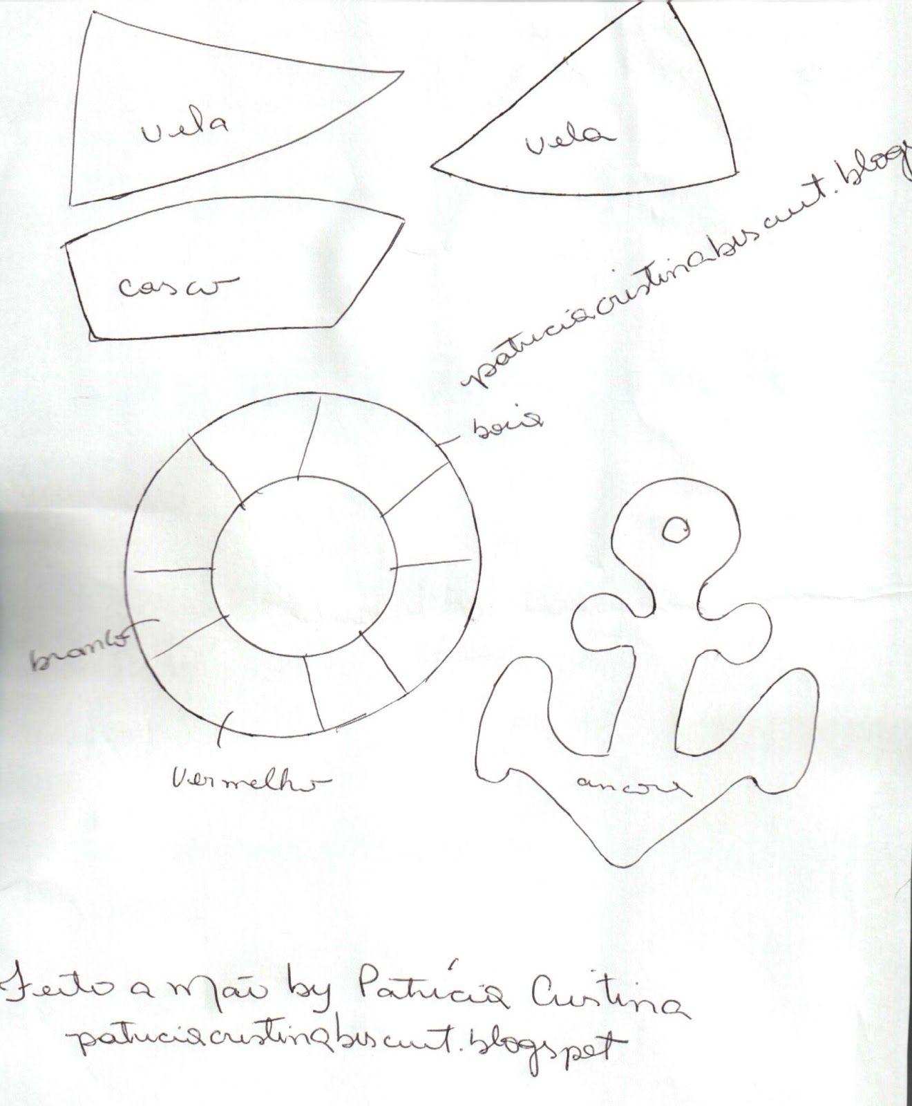 feito a m o by patricia cristina molde barquinho ancora e boia em e v a dise os 2. Black Bedroom Furniture Sets. Home Design Ideas