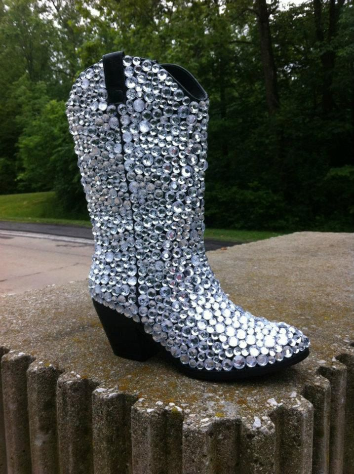 370568109fc Custom Rhinestone Cowboy Boots by TietheKnotCreationz on Etsy ...