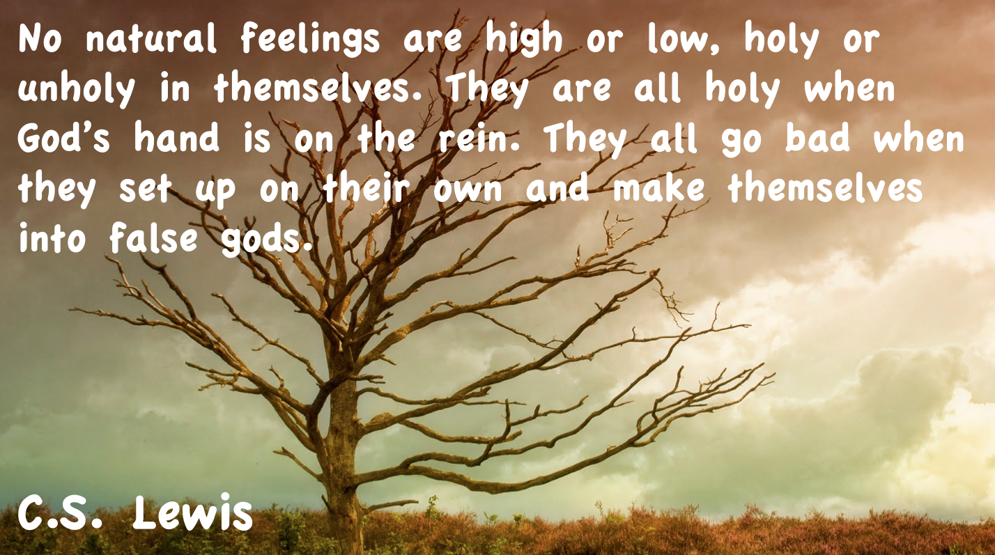 Lovely C.S. Lewis Quote, No Natural Feelings Are High Or Low, Holy Or Unholy