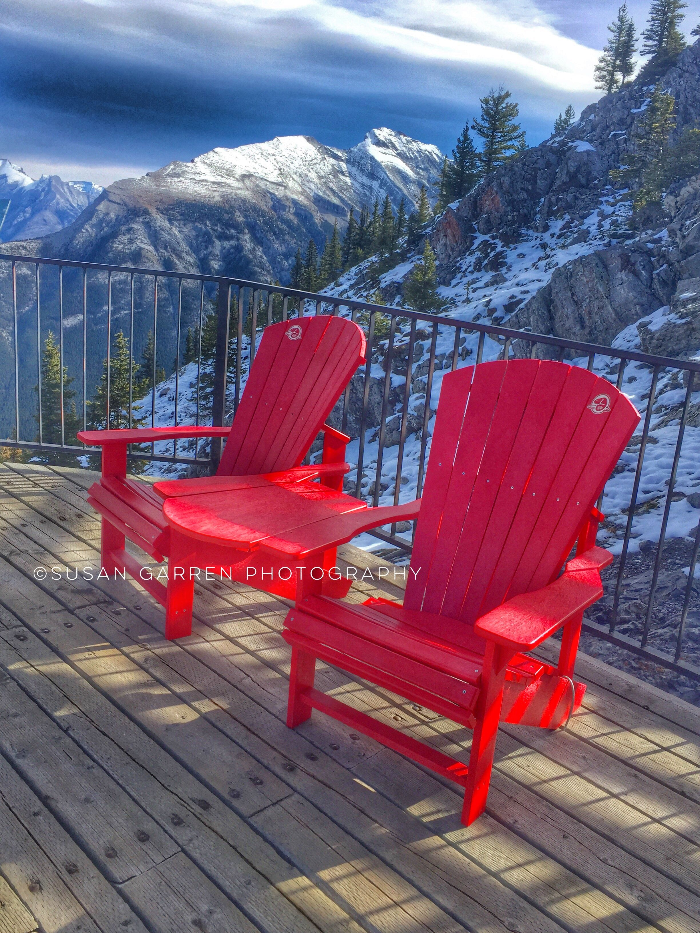 Red chair photography -  Sharethechair Red Chairs Banff National Park Sulphur Mountain Top Of Gondola Ride As Walking
