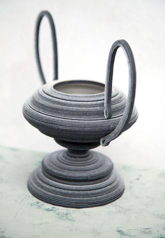 'bucchero' paper porcelain by siba sahabi.