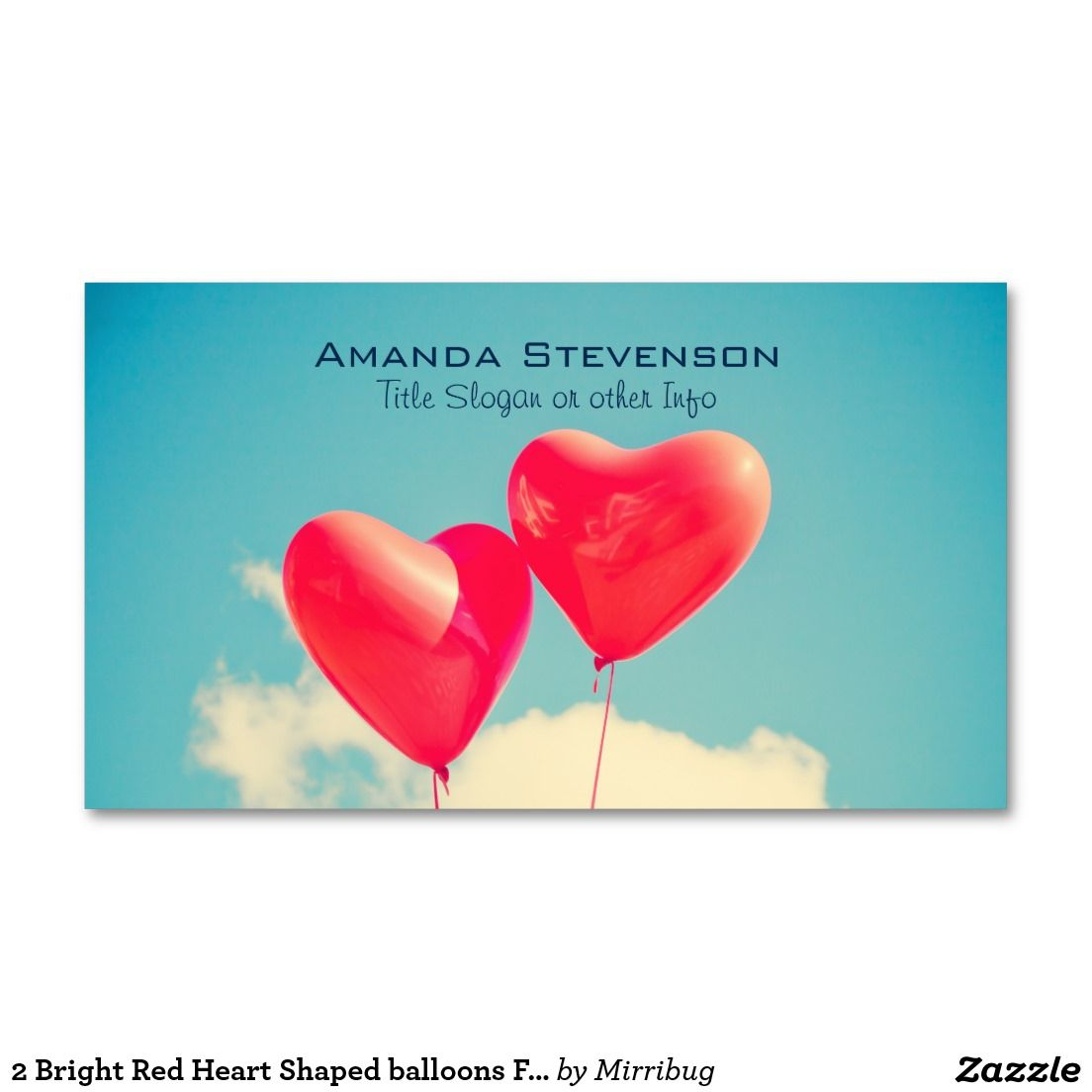 2 Bright Red Heart Shaped balloons Floating Upward Business Card ...