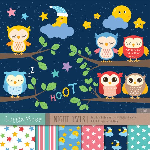 Night Owls Digital Clipart And Papers By Littlemoss On Etsy With Images Digital Clip Art Clip Art Owl Clip Art