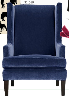 Crate And Barrel Navy Blue Wing Back Chairs