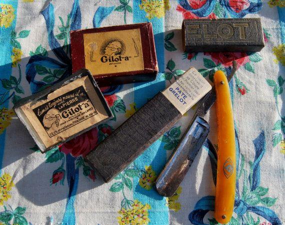 Antique Français Grelot Razoir Cut Throat Razor & Gilot « a » affûtage bloc Original Barber Français boîtes-Rare catalogue Collectables de rasage...