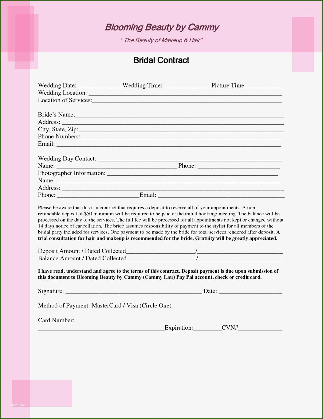 14 Outstanding Wedding Hair and Makeup Contract Template