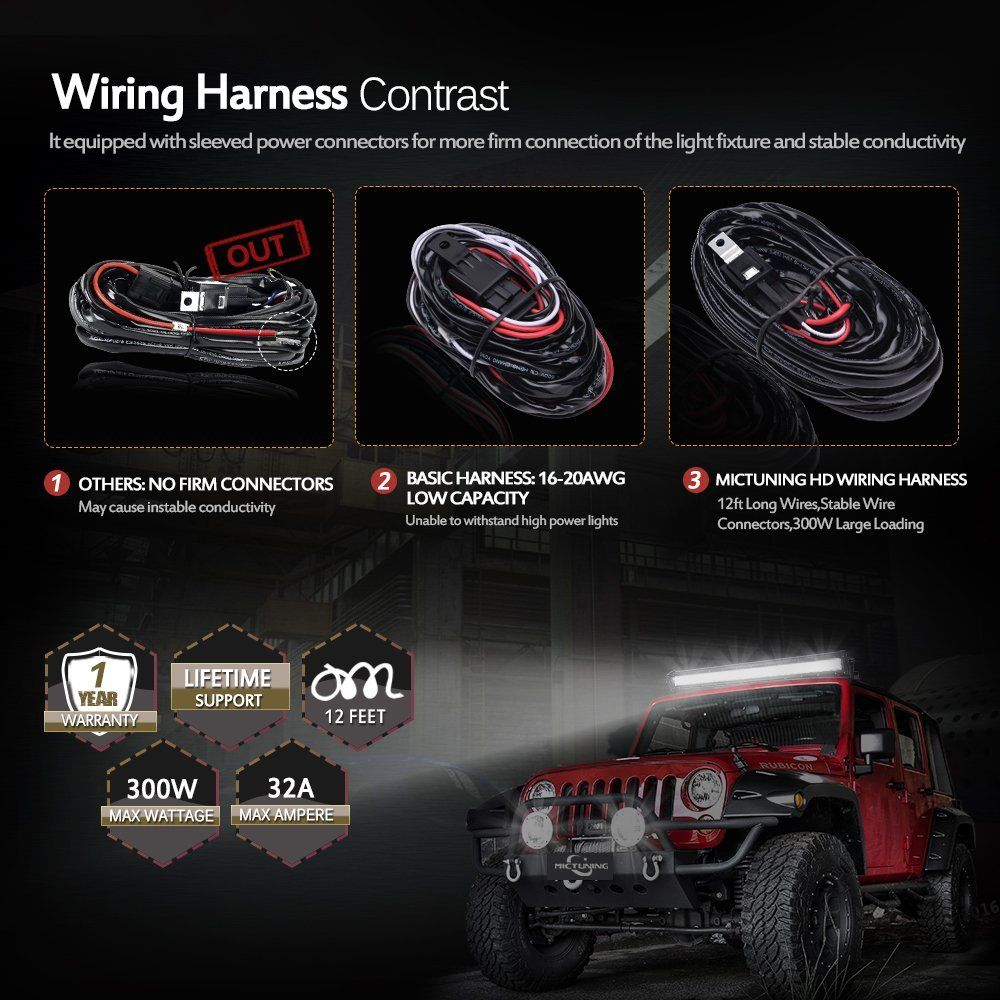 Amazoncom Mictuning Hd 300w Led Light Bar Wiring Harness Fuse 40 Jeep Wrangler Headlight Relay Amp