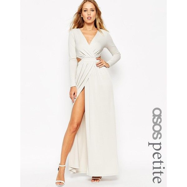 ASOS PETITE Draped Plunge Cut Out Maxi Dress ($65) ❤ liked on ...