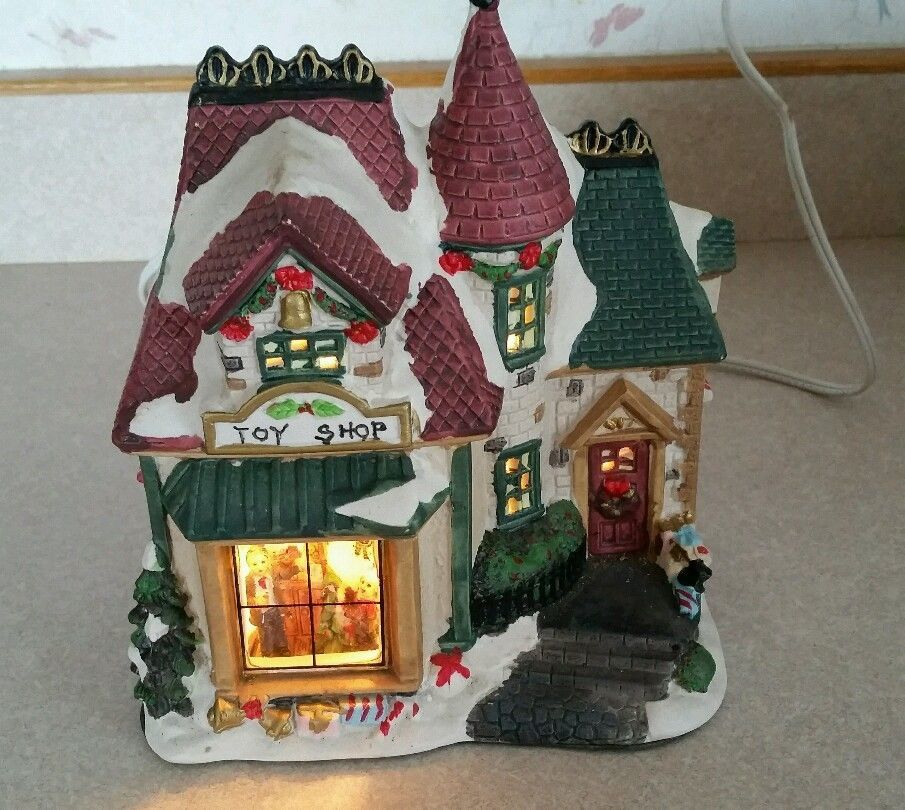 Porcelain Lighted Christmas Village Toy Shop House Ceramic See Through Windows Christmas Village Houses Christmas Villages Christmas Village