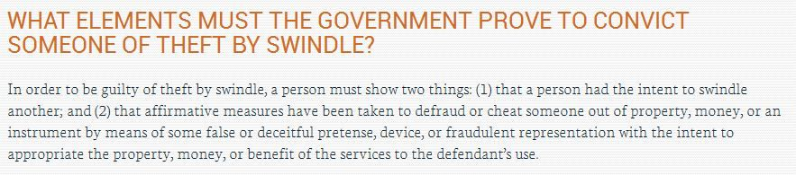 Definition Of Theft By Swindle In MN   What Has To Be In Play To Be