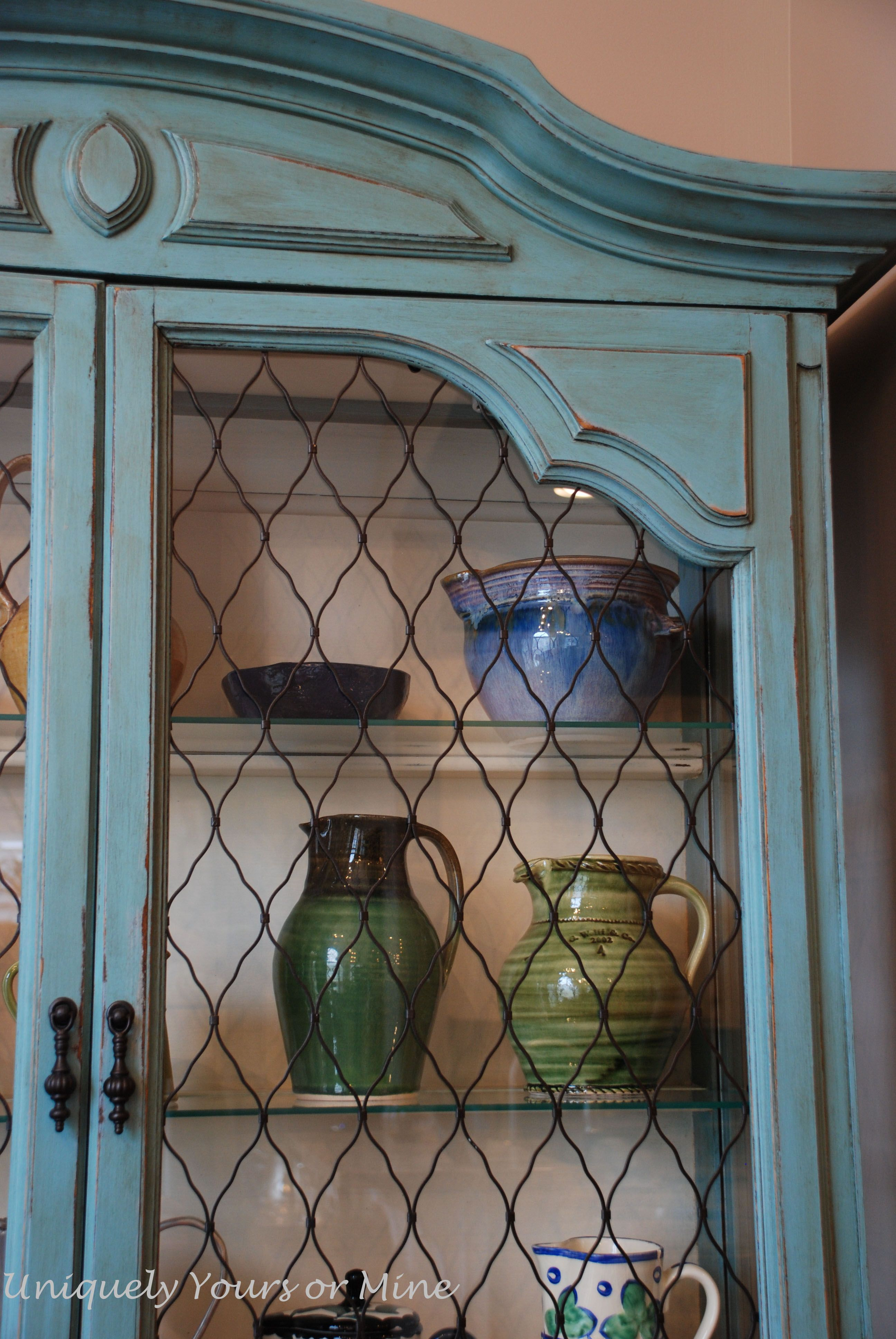 Like The Wire Instead Of Glass Painted China Cabinets Diy Kitchen Cabinets Chicken Wire Cabinets