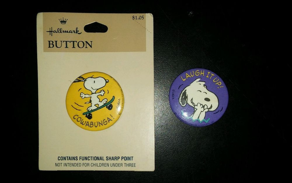 Vintage Lot of 2 Snoopy Joe Cool Button Lapel Brooch Peanuts UFS Shultz