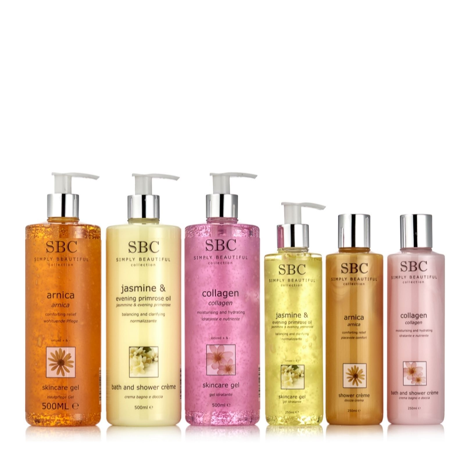209544 - SBC 6 Piece Shower & Gel Skincare Collection  QVC PRICE: £41.00  EVENT PRICE: £36.84 + P&P: £5.95 or 2 Easy Pays of £18.42 +P&P  This six-piece collection from SBC features customer favourite gels and shower creams in Arnica, Collagen and Jasmine & Evening Primrose formulas. This fantastic set is a great way to discover the benefits of SBC or top up your current collection.