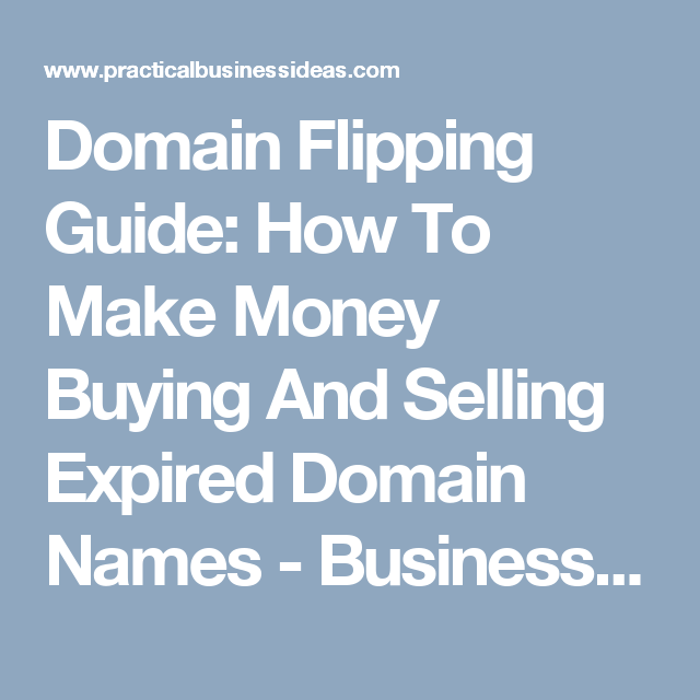 Domain Flipping Guide: How To Make Money Buying And Selling Expired Domain Names - Business Ideas | Business Plans | Start Business | Invest